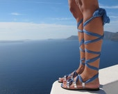 Luxurious lace up sandals handmade of leather and silk. Make your colors combination. IRIS - Free standard shipping