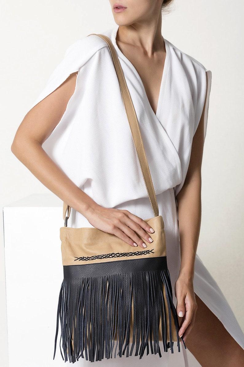 Crossbody Bag Women FCR02 Boho Leather Bag Bag with Fringes Fringed Leather Bag Tan Leather Bag