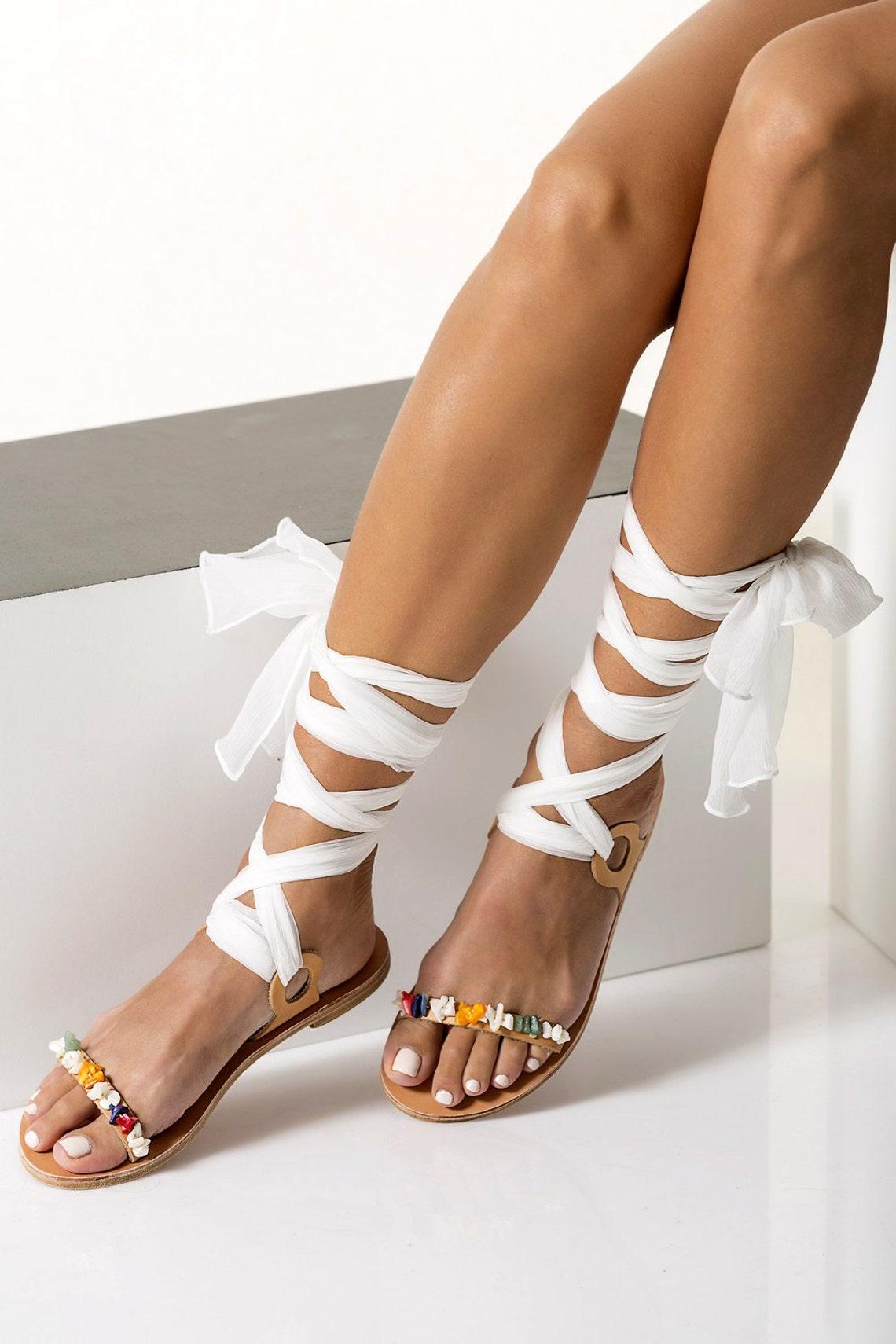 "Wedding Sandals, Neutral Wedding Flats, Bridal Flat Shoes, Pearl Sandals for Bride, Boho Wedding Sandals, Lace up Sandals, ""Charis"""