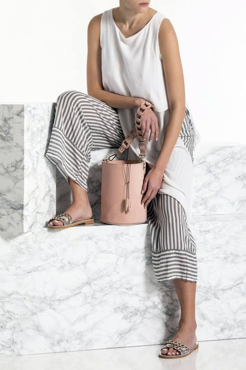 Bucket Bag Available in 3 colors Roxanne design Nude Leather Tote Shoulder Bag