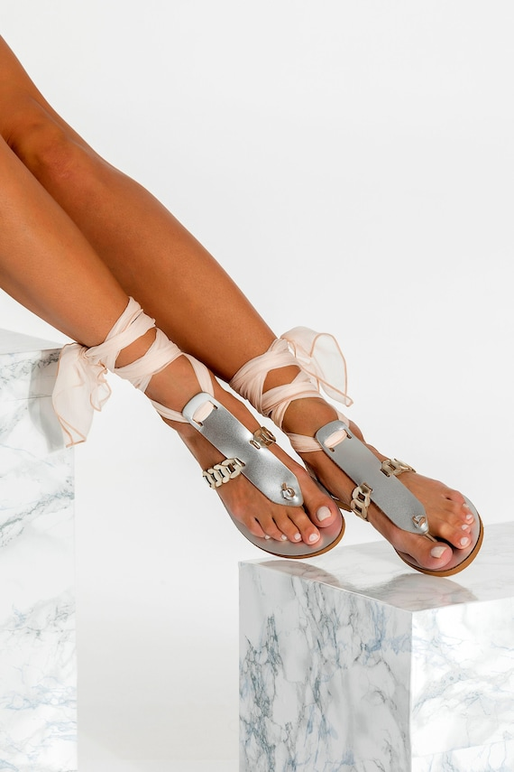 Wedding sandals, Bridal sandals, Silver leather flats, Beach wedding shoes, Made to order, Handmade sandals for bride, Ermioni design