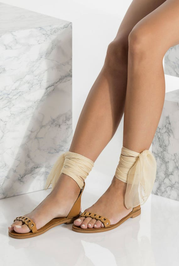 fb5cacee9187b Wrap around the ankle sandals, Tan leather sandals, Dido design