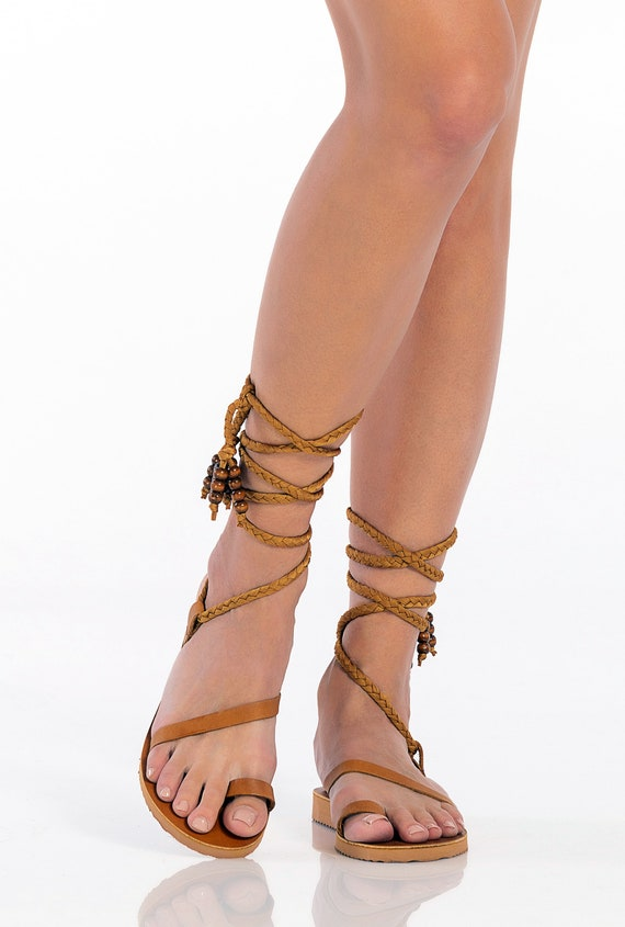 Brown Gladiator Sandals for Women, Handmade Greek Sandals, Comfortable Wedge Sandals, Leather Ankle Wrap Flats,