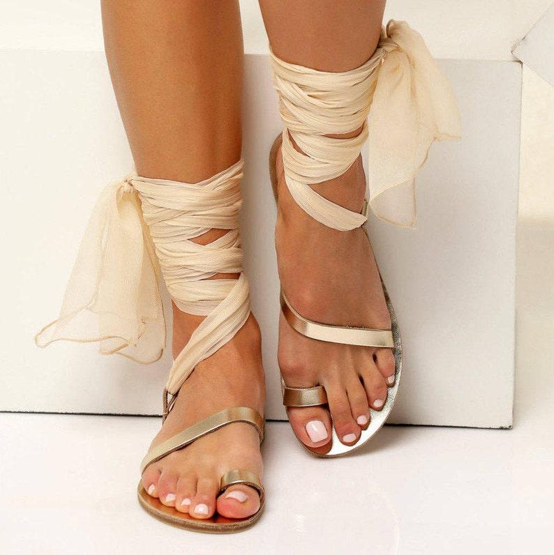 d738e8d224b Ivory sandals Greek Leather sandals Wedding flat shoes Gold