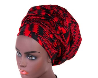 Headwrap for black women/ black and red headwraps HT320
