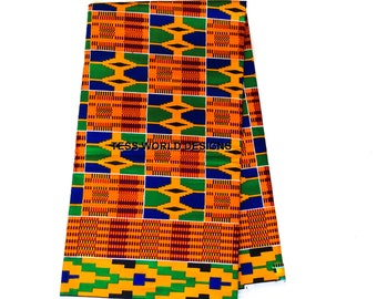 High quality Kente cloth print sold by the yard / Kente fabric/ Kente skirt / African dress / African tie / Kente cloth print / KF181B