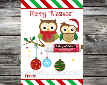Instant Download, Printable Chapstick Christmas Card, Chapstick Printable, Merry Kissmas Chapstick Card, Chapstick holder, owl christmas