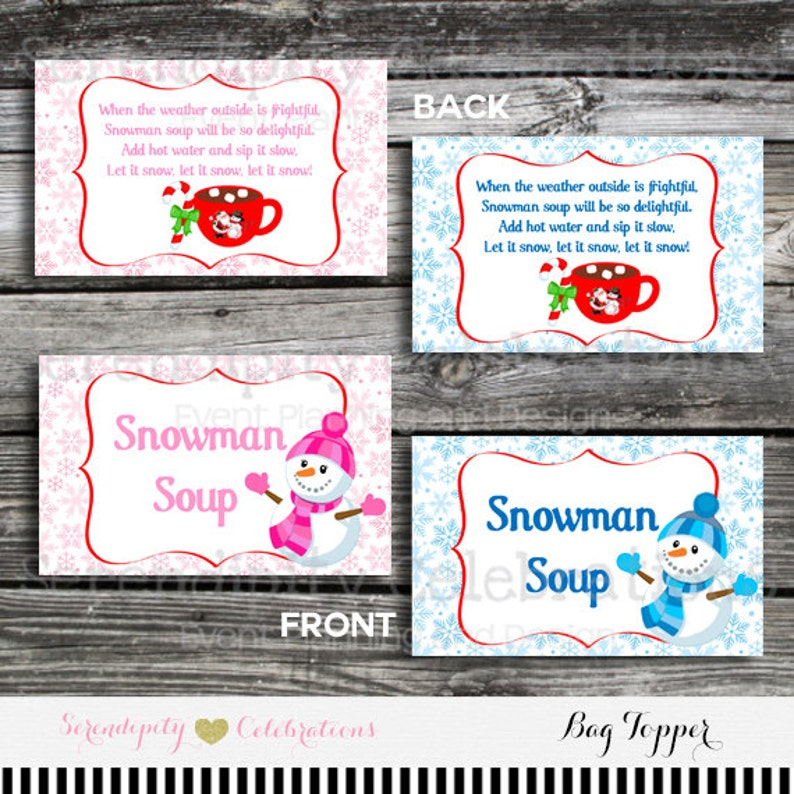 image about Snowman Soup Free Printable Bag Toppers titled Immediate Down load, Snowman Soup Bag Topper, Printable Snowman Soup Bag Topper, Snowman soup, Xmas Bag Topper, Higher education Take care of, Clroom