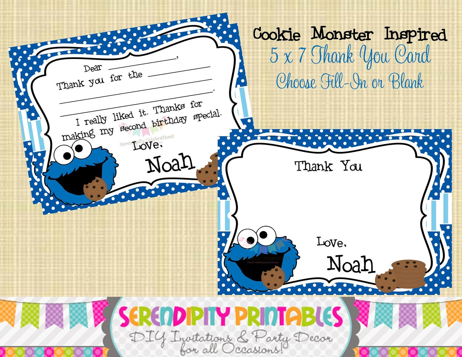 Cookie Monster Inspired Collection: Printable Thank You Card | Etsy