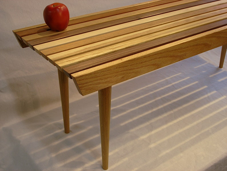 Delicieux Slat Coffee Table, Mid Century Modern Style, Bed Bench, Mixed Hardwoods
