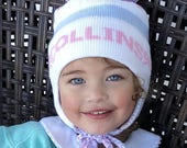 Pom Pom Ear Flap Hat with stripes Name and bows Be sure to let me know all colors
