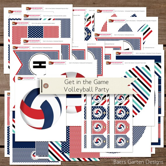 Get In The Game Volleyball Printable Birthday Party Decorations