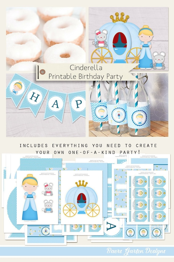 Cinderella Birthday Party Printables INSTANT DOWNLOAD by Baers ...