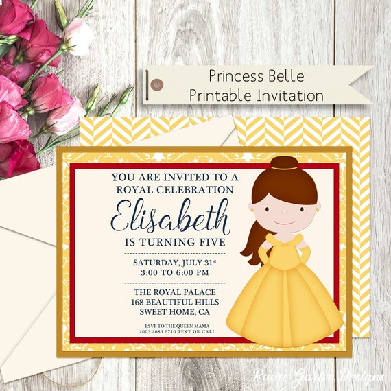 Princess belle printable birthday party invitation etsy image 0 filmwisefo