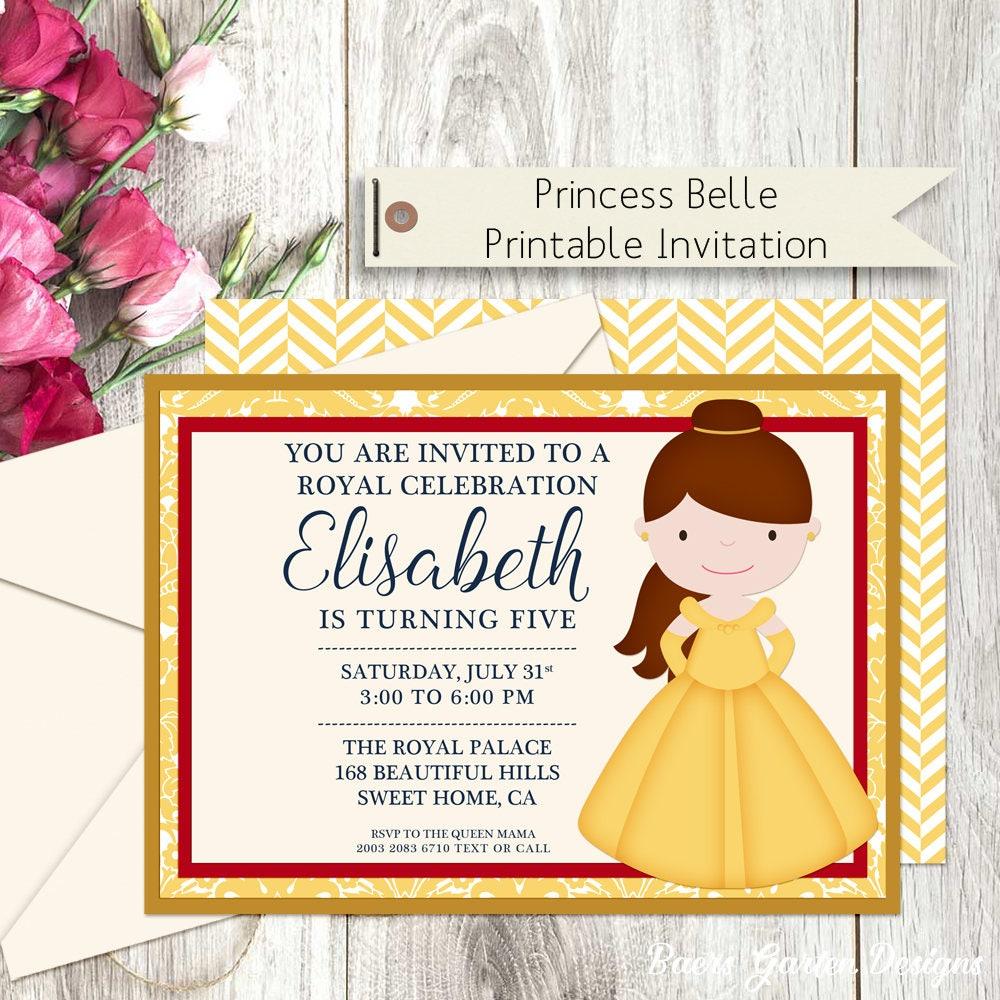 Princess Belle Printable Birthday Party Invitation   Etsy