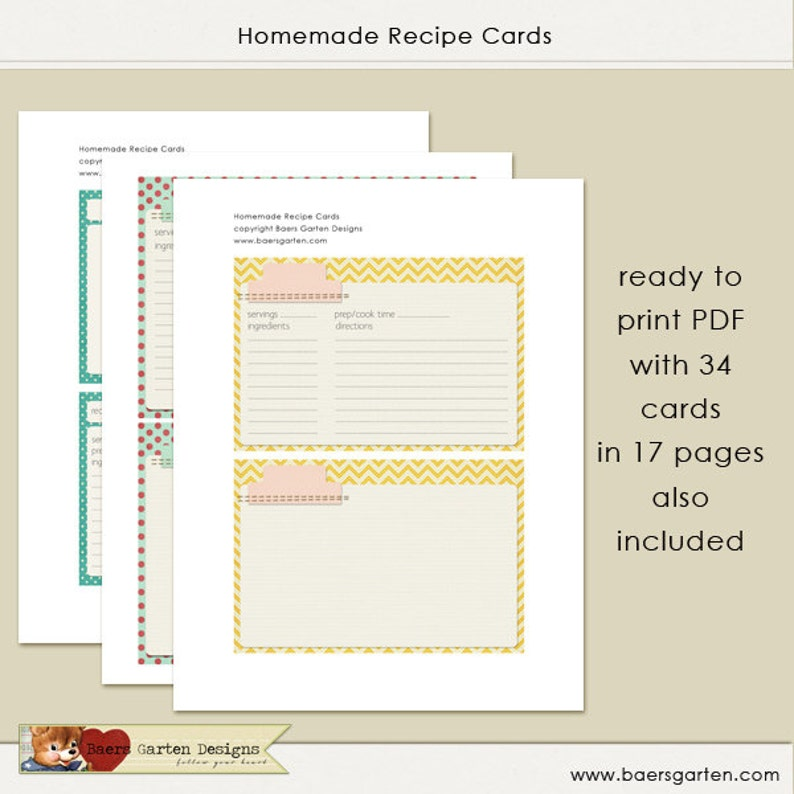 Homemade Recipe Cards INSTANT DOWNLOAD