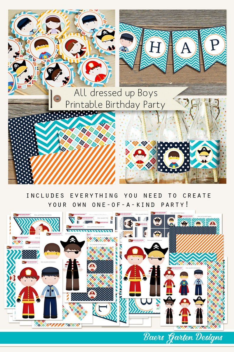 All dressed up  Boys costume party printables INSTANT image 0
