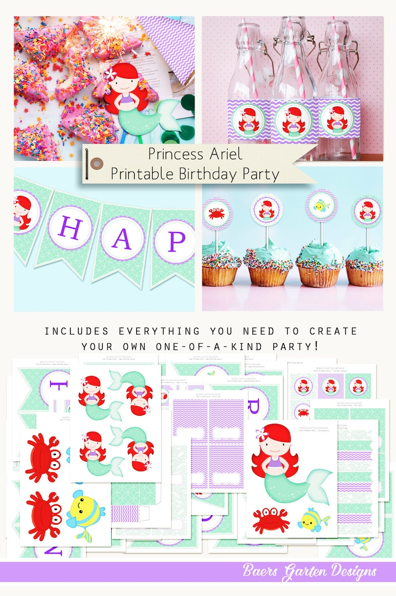 image about Printable Birthday Decorations named Princess Ariel - Tiny Mermaid Printable Birthday Decorations Prompt Obtain