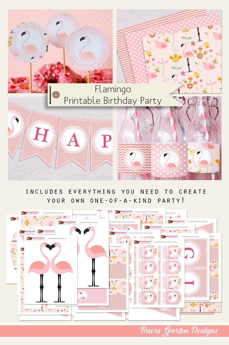 Flamingo Printable Birthday und Baby Shower Party Decorations image 0