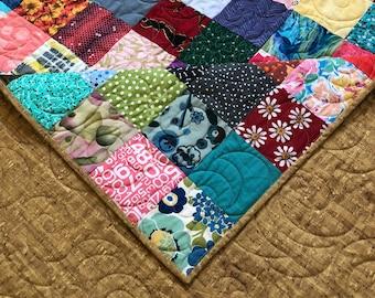 Scrappy Queen size Quilt - Patchwork Quilt -Quilt for Beds -Reversible Quilt- Handmade Queen Quilt