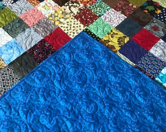 Patchwork Queen Quilt, Reversible Quilted Blanket,  Queen Bedding, Farmhouse Quilt , King Quilt, King Quilted Blanket