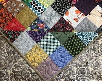 Queen Quilt for Sale- Rich Fall Colors Quilt-Country Quilt - Utility Quilt- Quilts for Queen Bed - King Quilt-Quilt-Blanket