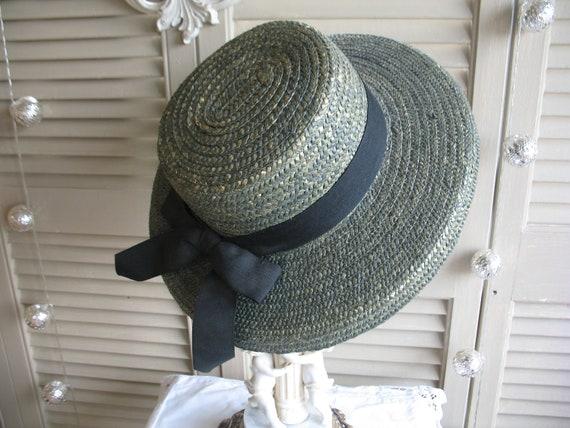 April Cornell Straw Hat Vintage Green Hat. Sun hat