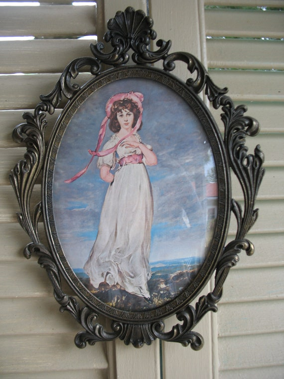 Pinkie Picture Vintage Oval Frame Frame Metal Convex Glass Etsy