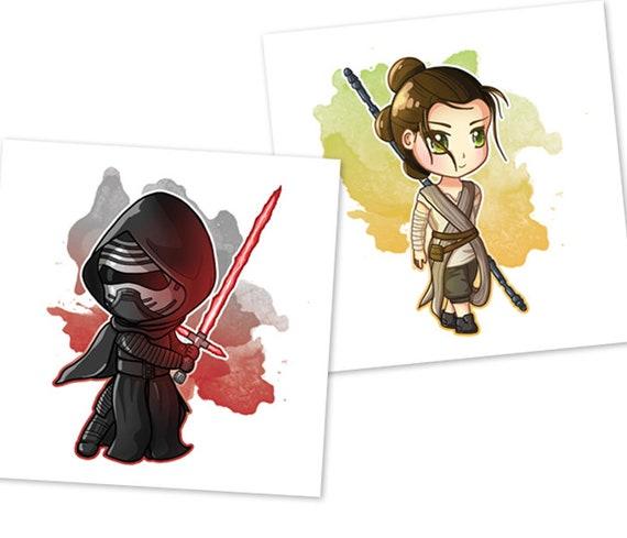 Items Similar To Cute Kylo Ren Rey Prints Star Wars Fanart