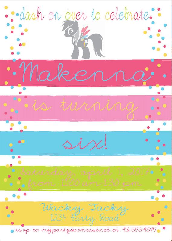 Rainbow Dash Birthday Invitation