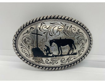 Vintage Belt Buckle Horse Head in Relief Fancy Scroll Work Beaded Edge by Nocona Buckles