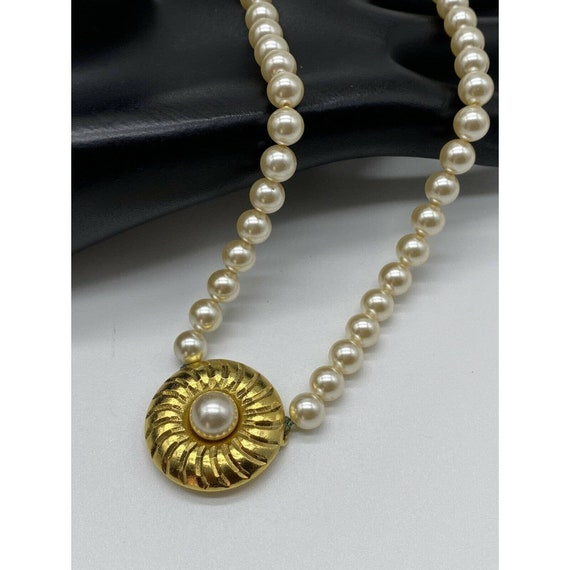 """Vintage Faux Pearl Gold Plated Necklace ~15"""" Long~ - image 5"""