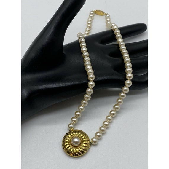"""Vintage Faux Pearl Gold Plated Necklace ~15"""" Long~ - image 3"""