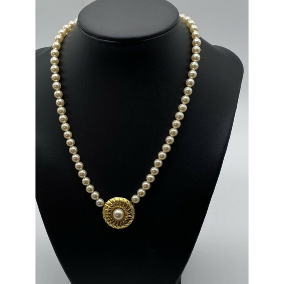 """Vintage Faux Pearl Gold Plated Necklace ~15"""" Long~ - image 10"""
