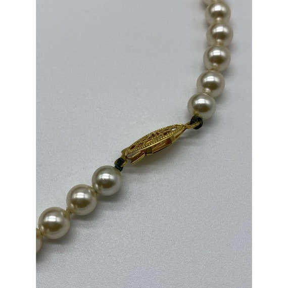 """Vintage Faux Pearl Gold Plated Necklace ~15"""" Long~ - image 8"""