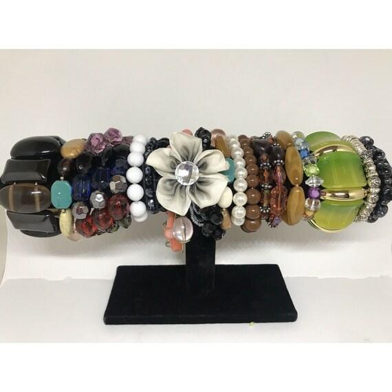 Stretchable Beaded Bracelet Costume Jewelry Mix L… - image 1