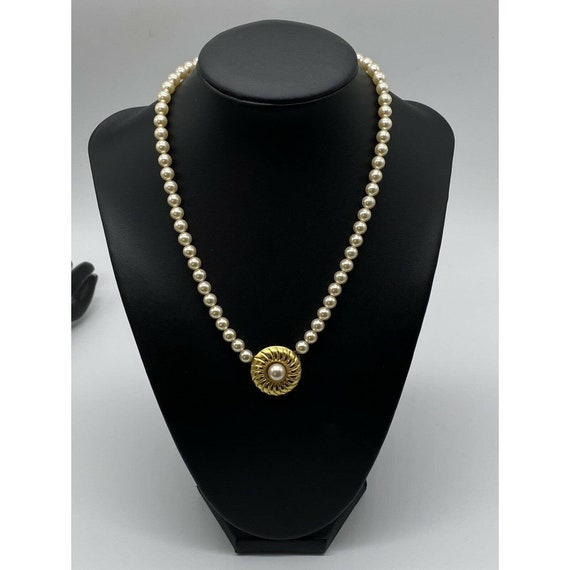 """Vintage Faux Pearl Gold Plated Necklace ~15"""" Long~ - image 2"""