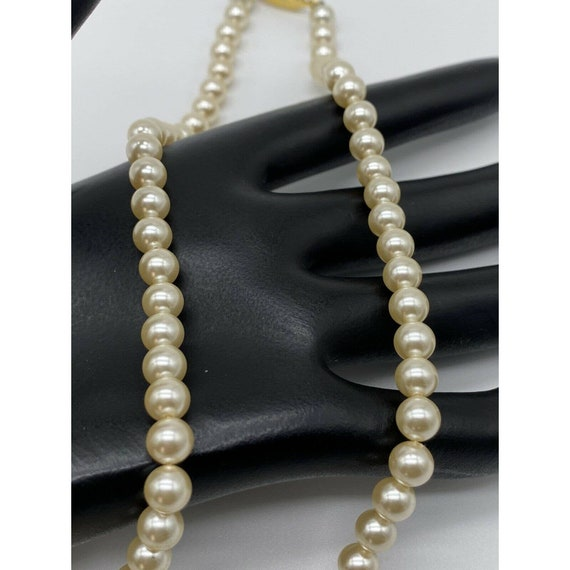 """Vintage Faux Pearl Gold Plated Necklace ~15"""" Long~ - image 6"""