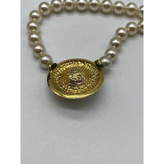 """Vintage Faux Pearl Gold Plated Necklace ~15"""" Long~ - image 7"""