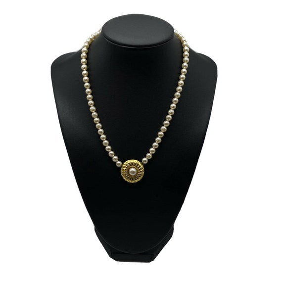 """Vintage Faux Pearl Gold Plated Necklace ~15"""" Long~ - image 1"""