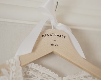 One Personalised Wedding Dress Wooden Hanger With Ribbon -Bridesmaid Gifts Mother of the Bride Maid of Honour Spring Summer