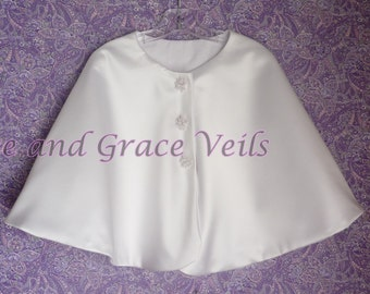 Satin Cape, Flannel Lined for Warmth, Communion, Flower Girl or Easter, White