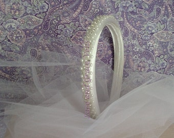 First Holy Communion/Flower Girl Headband with Rhinestones and Pearls