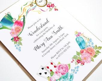 Alice In Wonderland Invitation Alice In Wonderland Tea Party