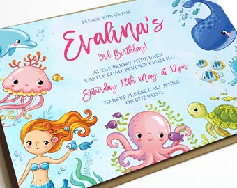 Under The Sea Birthday Invitation, Mermaid Invitation, Under the Sea Party, Mermaid Birthday, Beach Party, Children's Birthday Invites