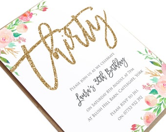 30th birthday invitations etsy