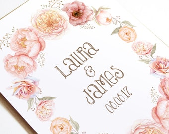 Blush Floral Wreath Wedding Invitation - SAMPLE