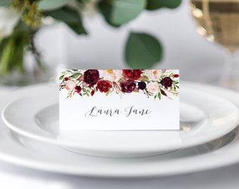 0f600d6b20ced Boho Red Rose Wedding Place Cards