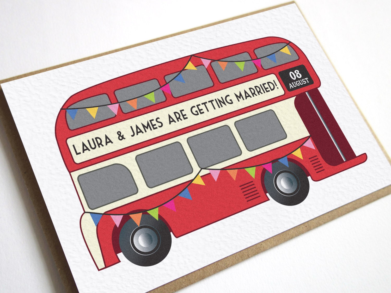 Vintage Bus Wedding Invitation London Bus Wedding Bus Red | Etsy