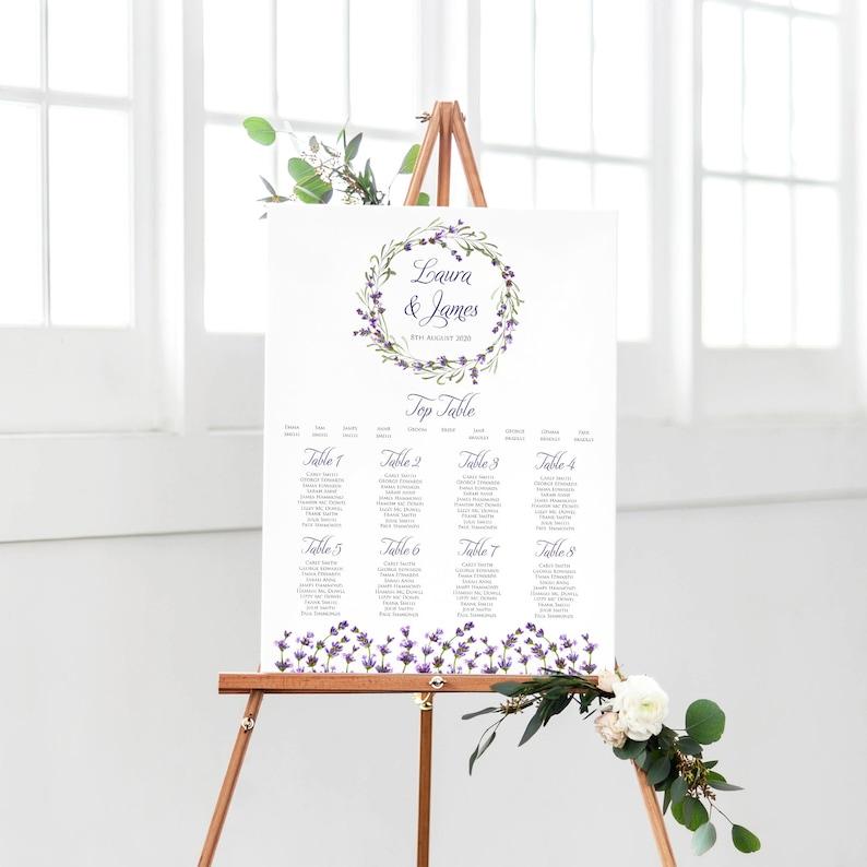 fab8e60752f Lavender Rustic Wedding Table Plan Personalized Wedding